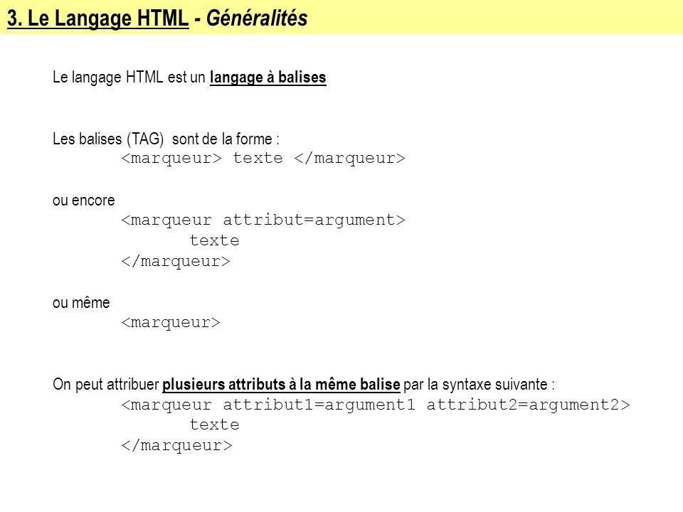 Le langage HTML est un langage à balises Les balises (TAG) sont de la forme : texte ou encore texte ou même On peut attribuer plusieurs attributs à la