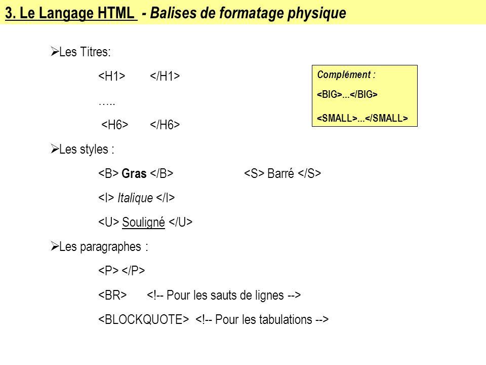 3. Le Langage HTML - Balises de formatage physique Les Titres: ….. Les styles : Gras Barré Italique Souligné Les paragraphes : Complément :...