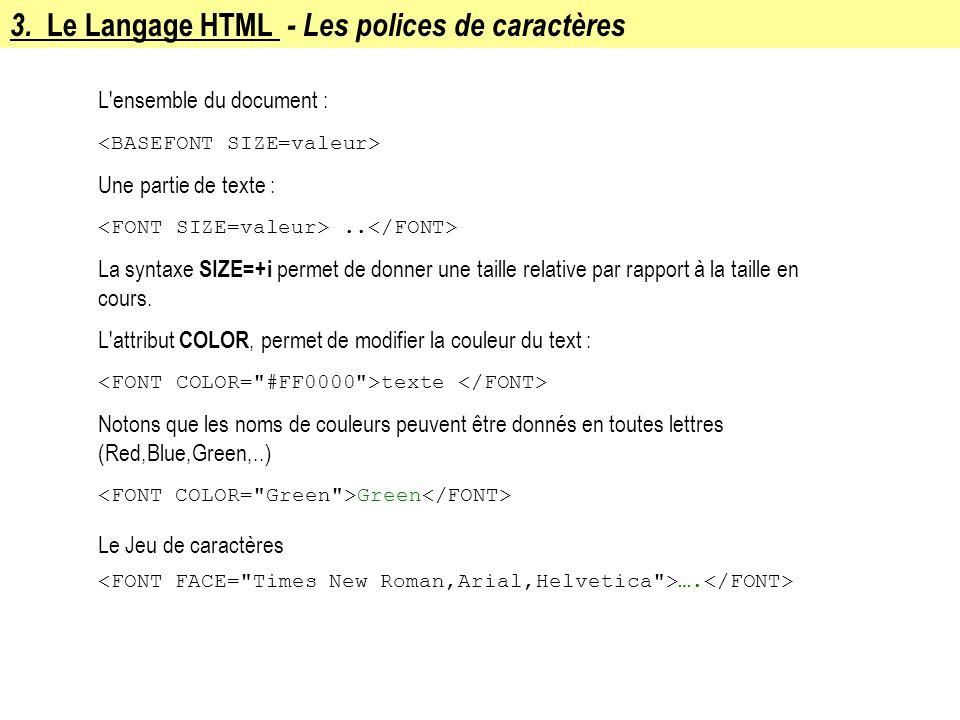 3. Le Langage HTML - Les polices de caractères L'ensemble du document : Une partie de texte :.. La syntaxe SIZE=+i permet de donner une taille relativ