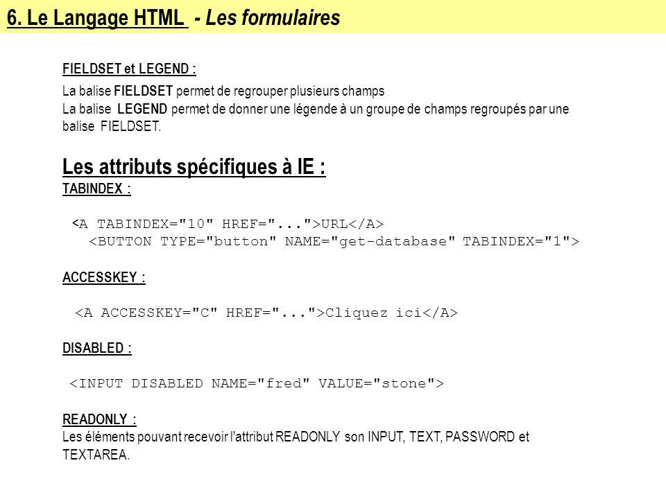 6. Le Langage HTML - Les formulaires FIELDSET et LEGEND : La balise FIELDSET permet de regrouper plusieurs champs La balise LEGEND permet de donner un