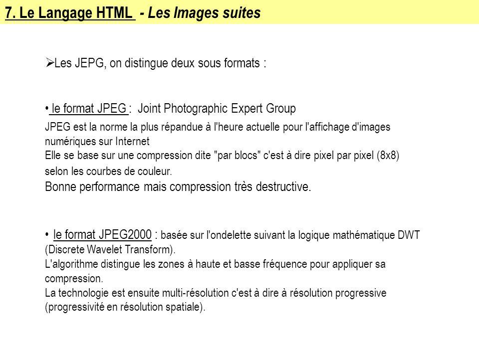 7. Le Langage HTML - Les Images suites Les JEPG, on distingue deux sous formats : le format JPEG : Joint Photographic Expert Group JPEG est la norme l