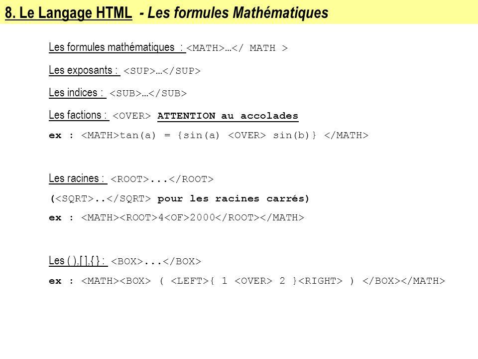 8. Le Langage HTML - Les formules Mathématiques Les formules mathématiques : … Les exposants : … Les indices : … Les factions : ATTENTION au accolades
