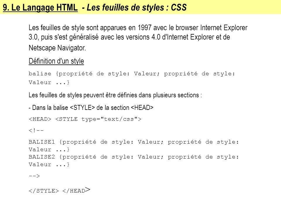 9. Le Langage HTML - Les feuilles de styles : CSS Les feuilles de style sont apparues en 1997 avec le browser Internet Explorer 3.0, puis s'est généra
