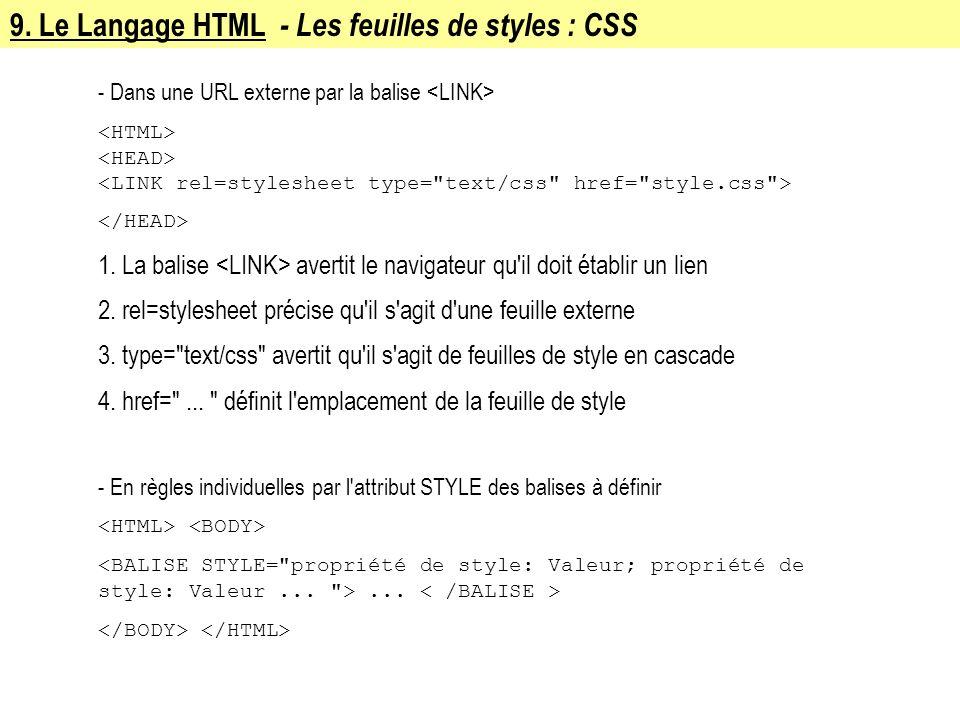 9. Le Langage HTML - Les feuilles de styles : CSS - Dans une URL externe par la balise 1. La balise avertit le navigateur qu'il doit établir un lien 2