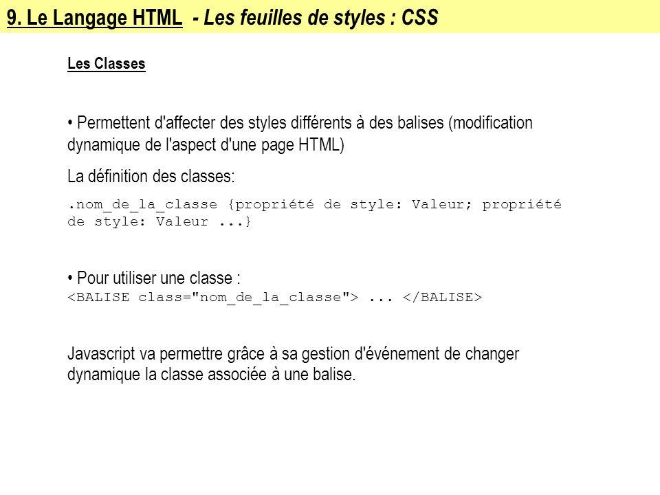 9. Le Langage HTML - Les feuilles de styles : CSS Les Classes Permettent d'affecter des styles différents à des balises (modification dynamique de l'a