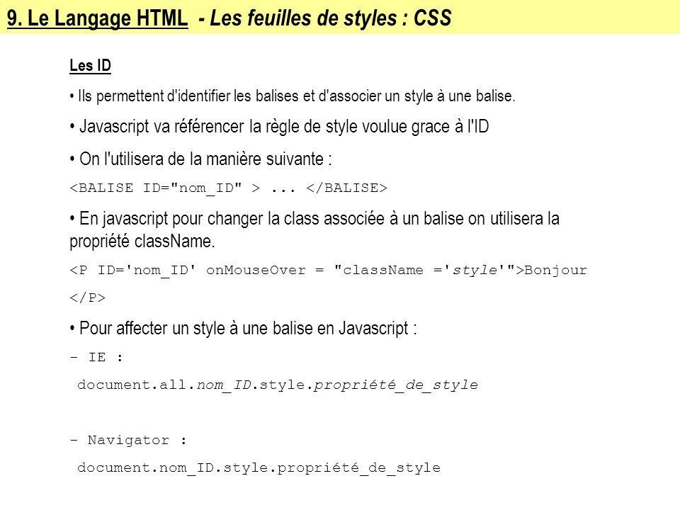 9. Le Langage HTML - Les feuilles de styles : CSS Les ID Ils permettent d'identifier les balises et d'associer un style à une balise. Javascript va ré