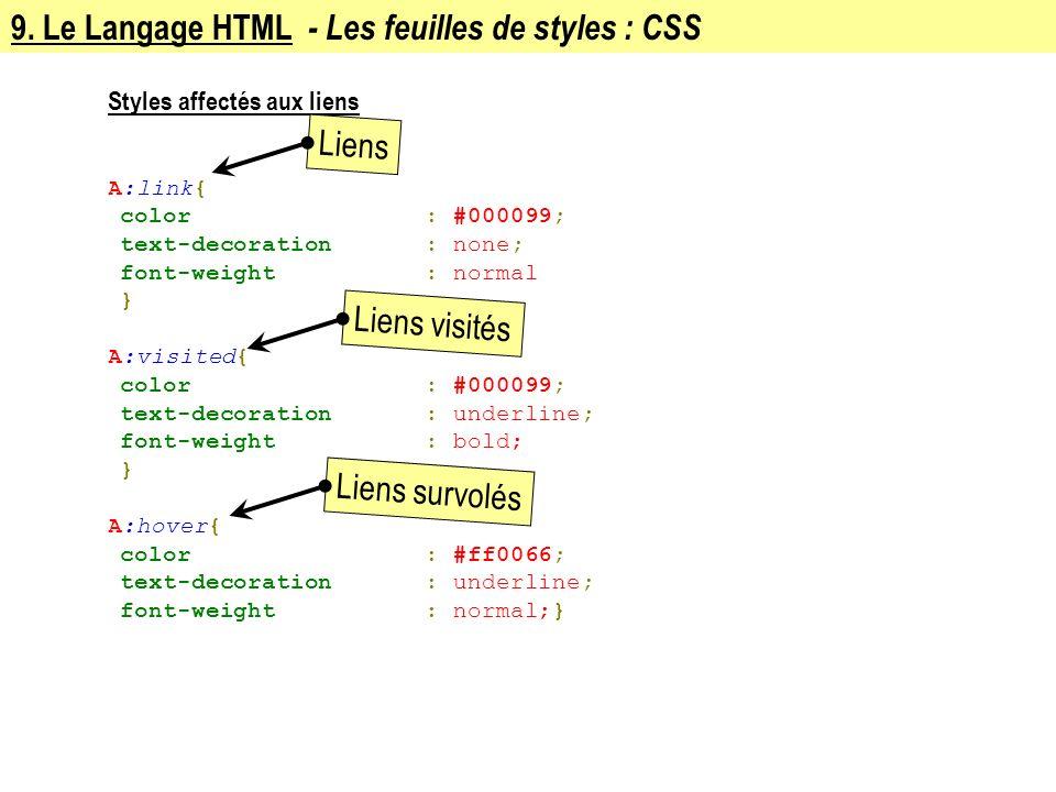 9. Le Langage HTML - Les feuilles de styles : CSS Styles affectés aux liens A:link{ color: #000099; text-decoration: none; font-weight: normal } A:vis