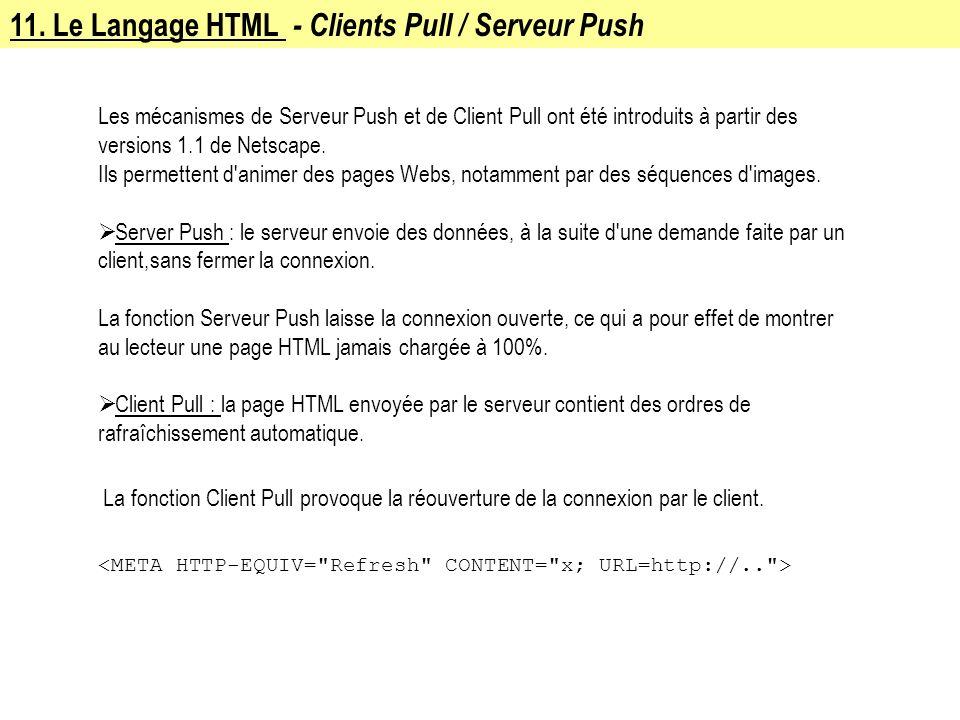 11. Le Langage HTML - Clients Pull / Serveur Push Les mécanismes de Serveur Push et de Client Pull ont été introduits à partir des versions 1.1 de Net