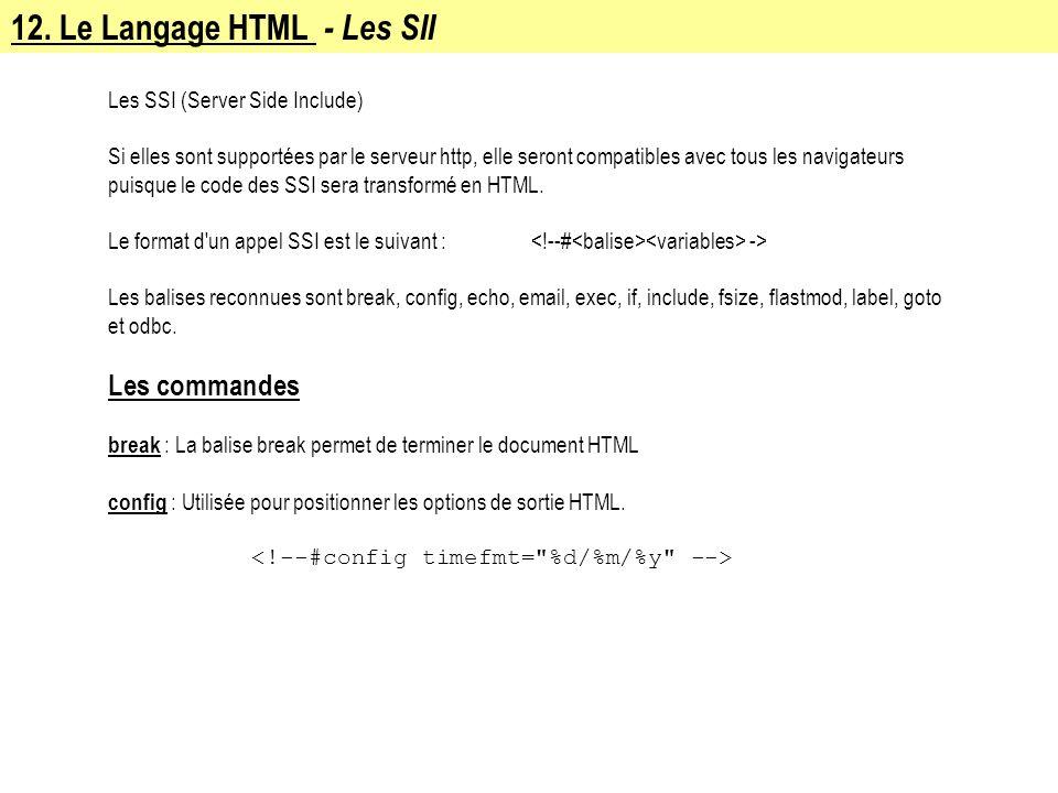 12. Le Langage HTML - Les SII Les SSI (Server Side Include) Si elles sont supportées par le serveur http, elle seront compatibles avec tous les naviga