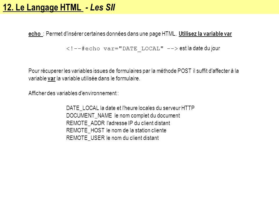 12. Le Langage HTML - Les SII echo : Permet d'insérer certaines données dans une page HTML. Utilisez la variable var est la date du jour Pour récupere