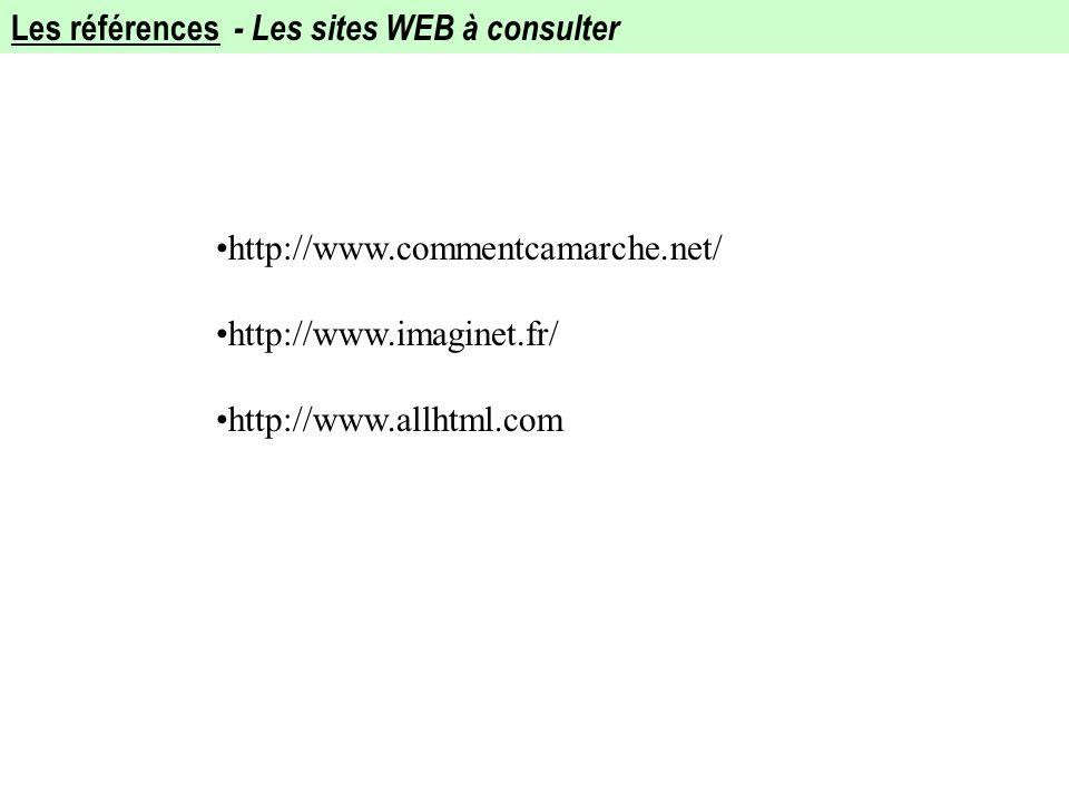 Les références - Les sites WEB à consulter http://www.commentcamarche.net/ http://www.imaginet.fr/ http://www.allhtml.com