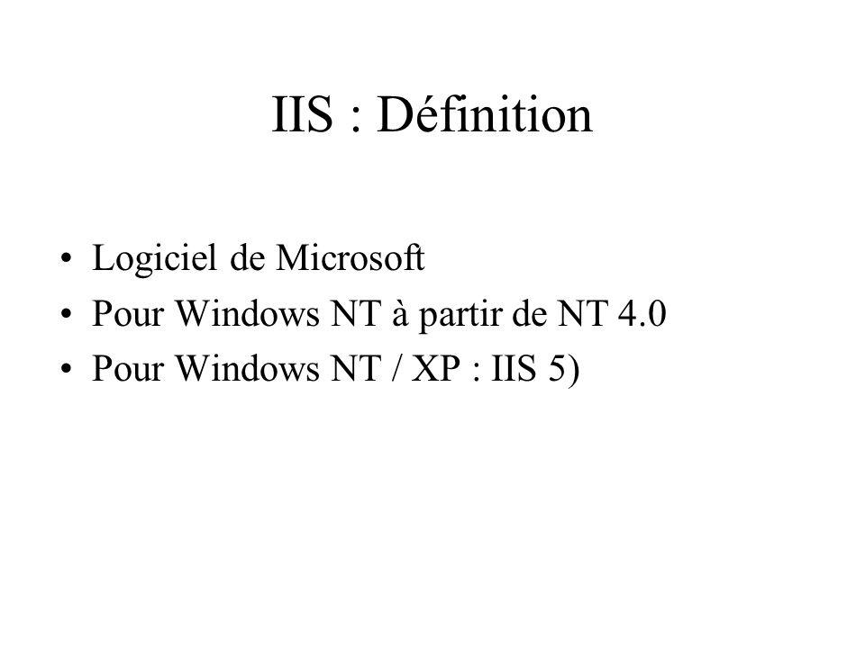 IIS : Définition Logiciel de Microsoft Pour Windows NT à partir de NT 4.0 Pour Windows NT / XP : IIS 5)
