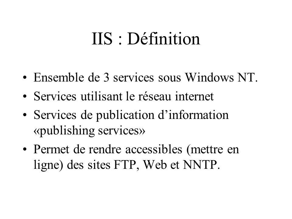 IIS : Définition Ensemble de 3 services sous Windows NT. Services utilisant le réseau internet Services de publication dinformation «publishing servic