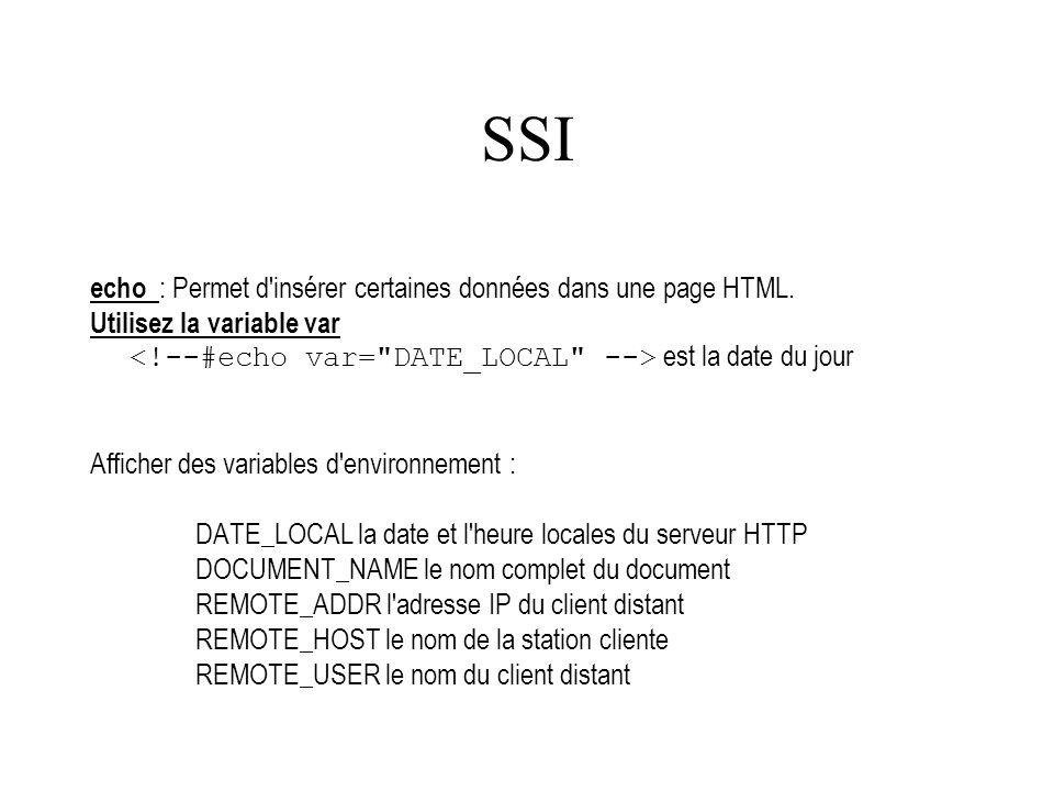 SSI echo : Permet d'insérer certaines données dans une page HTML. Utilisez la variable var est la date du jour Afficher des variables d'environnement