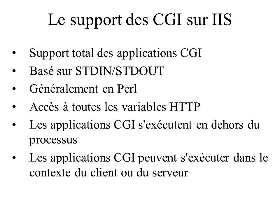 Le support des CGI sur IIS Support total des applications CGI Basé sur STDIN/STDOUT Généralement en Perl Accès à toutes les variables HTTP Les applica