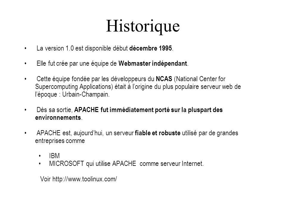 Configuration 1- arborescence cgi-bin : par défaut contenant les cgi conf : Contient les fichiers de configuration du serveur log : Contient les log users : Contient les sites des utilisateurs htdocs : Répertoire par défaut contenant les pages publiées.