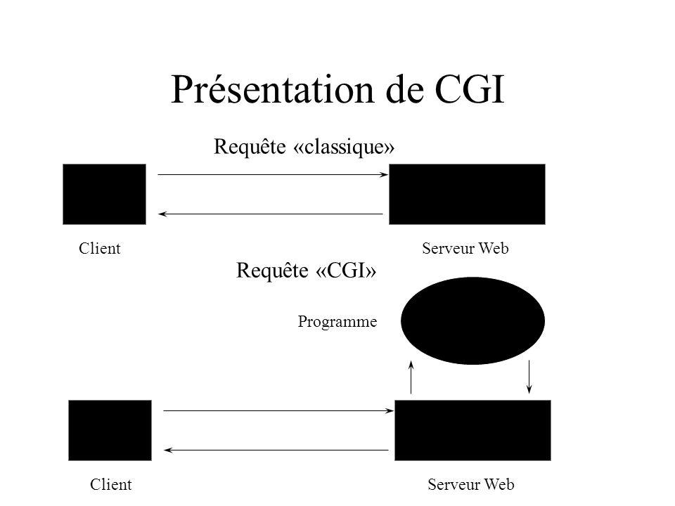Présentation de CGI f ClientServeur Web ClientServeur Web Programme Requête «classique» Requête «CGI»