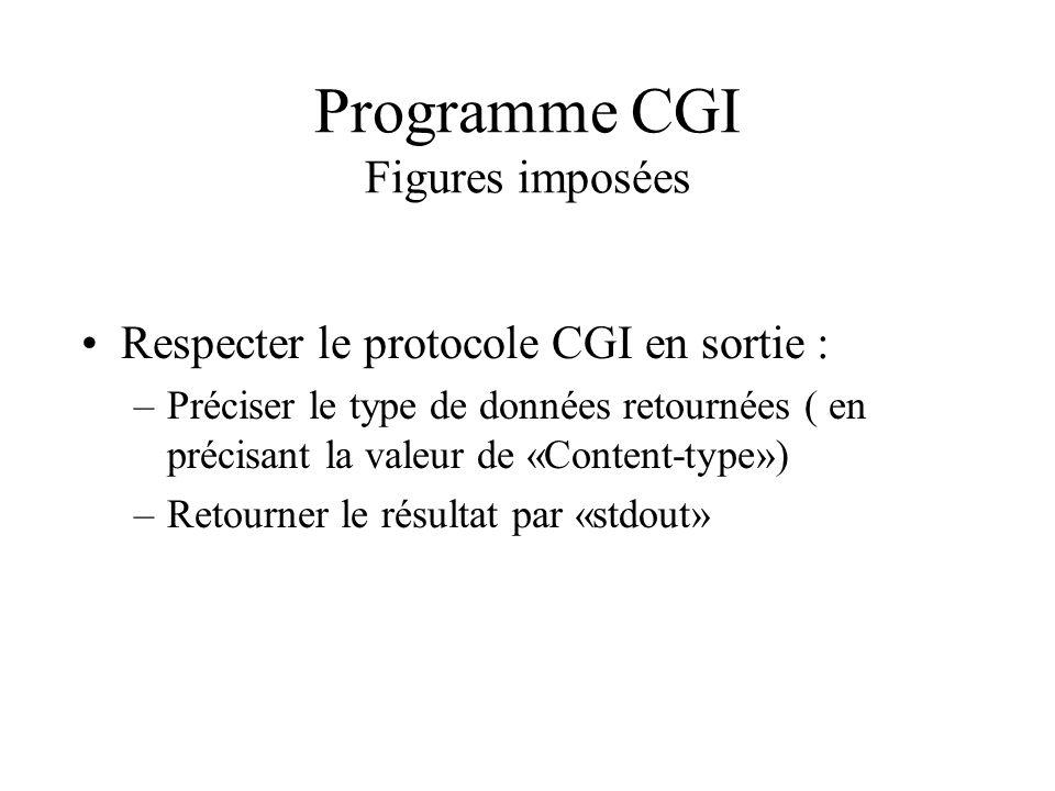 Programme CGI Figures imposées Respecter le protocole CGI en sortie : –Préciser le type de données retournées ( en précisant la valeur de «Content-typ