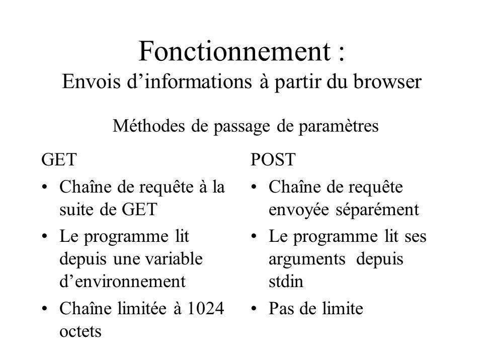 Fonctionnement : Envois dinformations à partir du browser GET Chaîne de requête à la suite de GET Le programme lit depuis une variable denvironnement