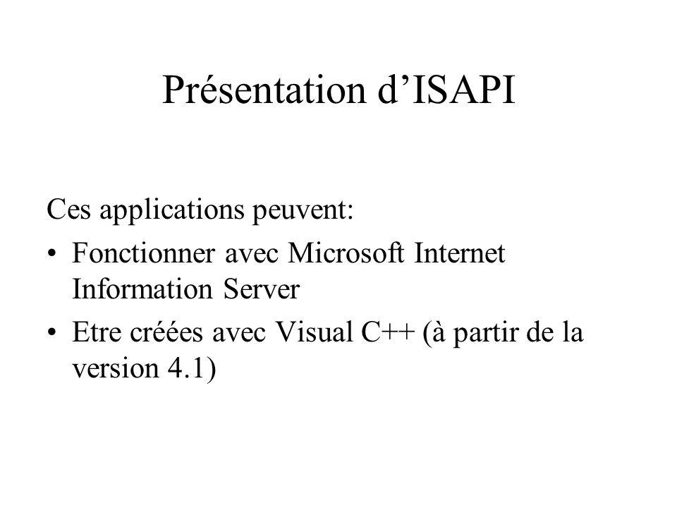 Présentation dISAPI Ces applications peuvent: Fonctionner avec Microsoft Internet Information Server Etre créées avec Visual C++ (à partir de la versi