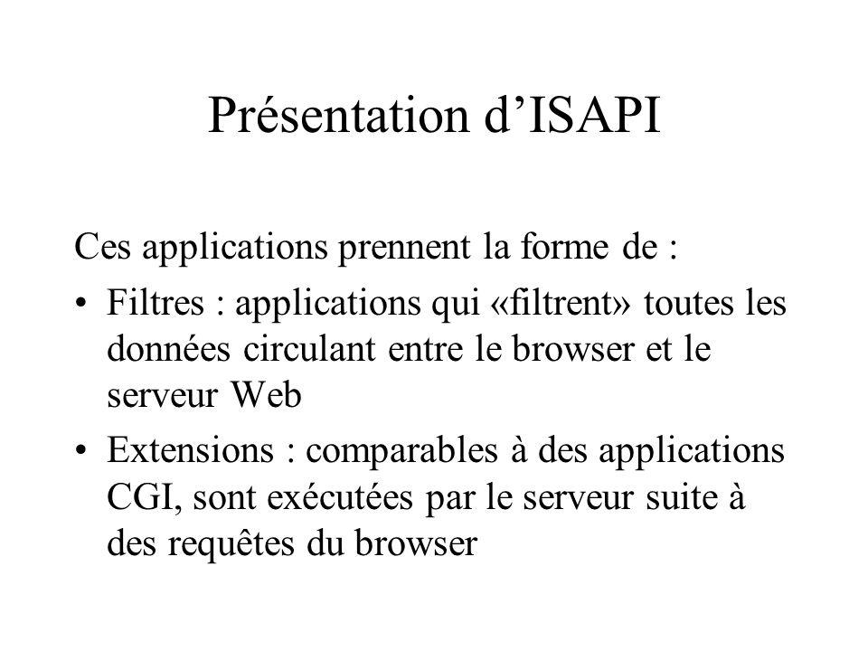 Présentation dISAPI Ces applications prennent la forme de : Filtres : applications qui «filtrent» toutes les données circulant entre le browser et le