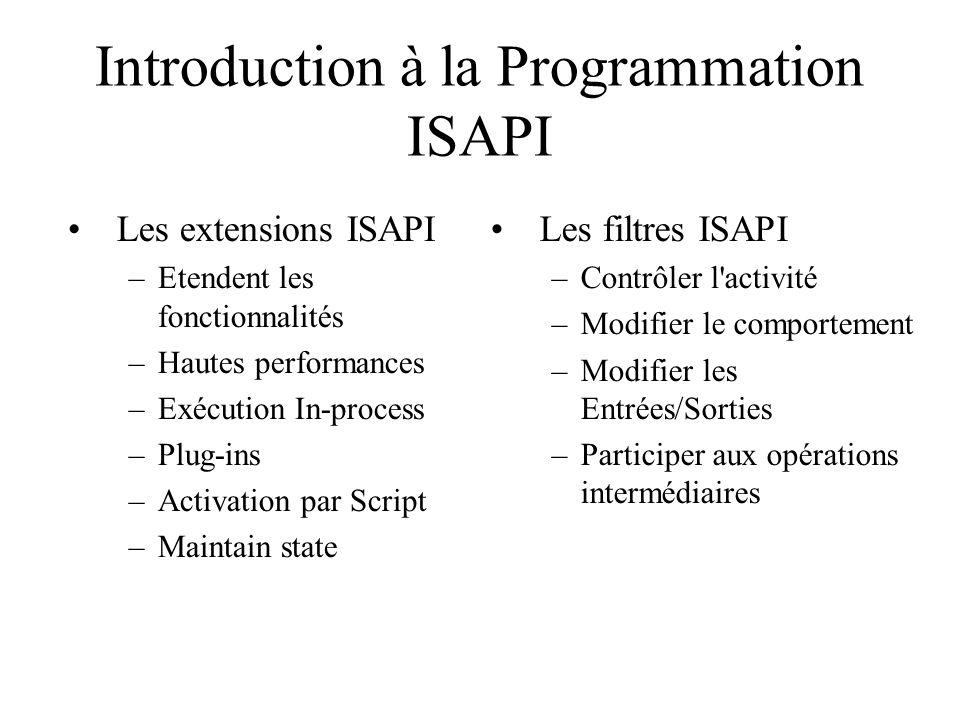 Introduction à la Programmation ISAPI Les filtres ISAPI –Contrôler l'activité –Modifier le comportement –Modifier les Entrées/Sorties –Participer aux