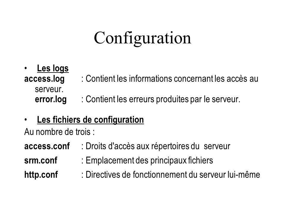 Configuration Les logs access.log : Contient les informations concernant les accès au serveur. error.log : Contient les erreurs produites par le serve