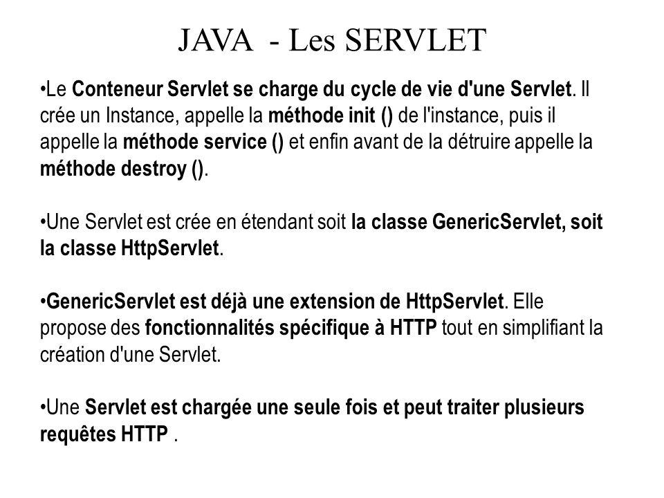 JAVA - Les SERVLET Le Conteneur Servlet se charge du cycle de vie d'une Servlet. Il crée un Instance, appelle la méthode init () de l'instance, puis i