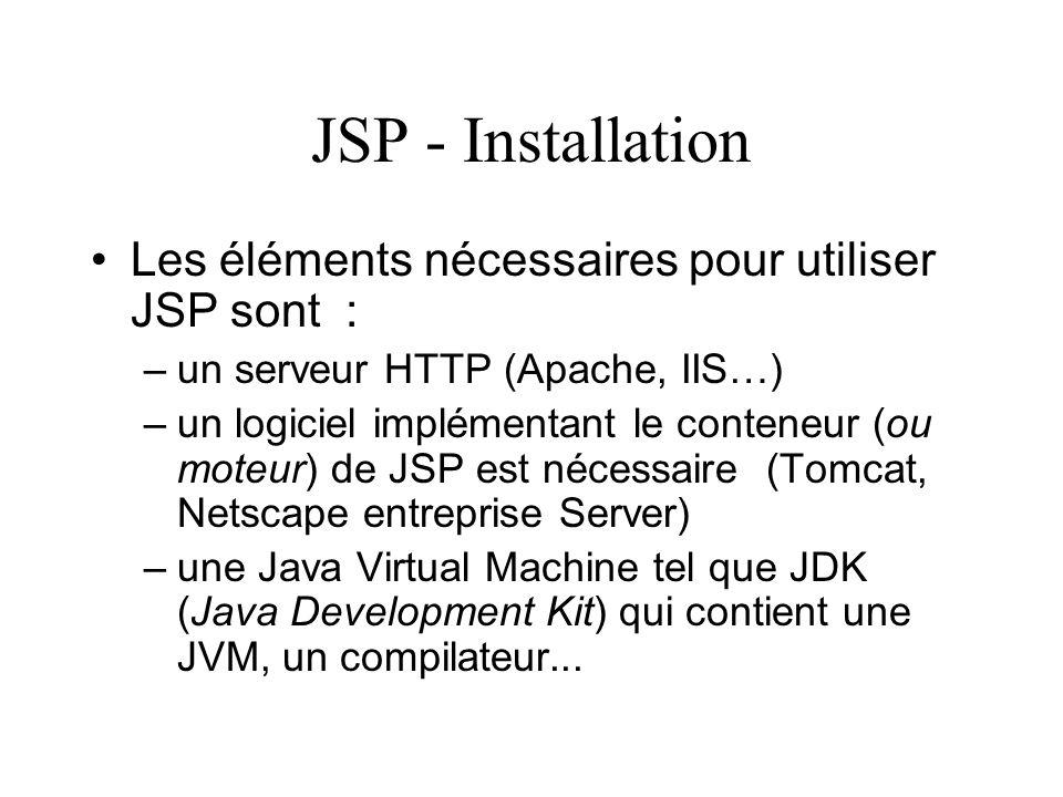 JSP - Installation Les éléments nécessaires pour utiliser JSP sont : –un serveur HTTP (Apache, IIS…) –un logiciel implémentant le conteneur (ou moteur