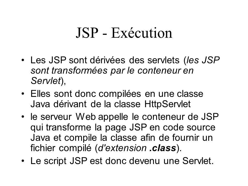 JSP - Exécution Les JSP sont dérivées des servlets (les JSP sont transformées par le conteneur en Servlet), Elles sont donc compilées en une classe Ja