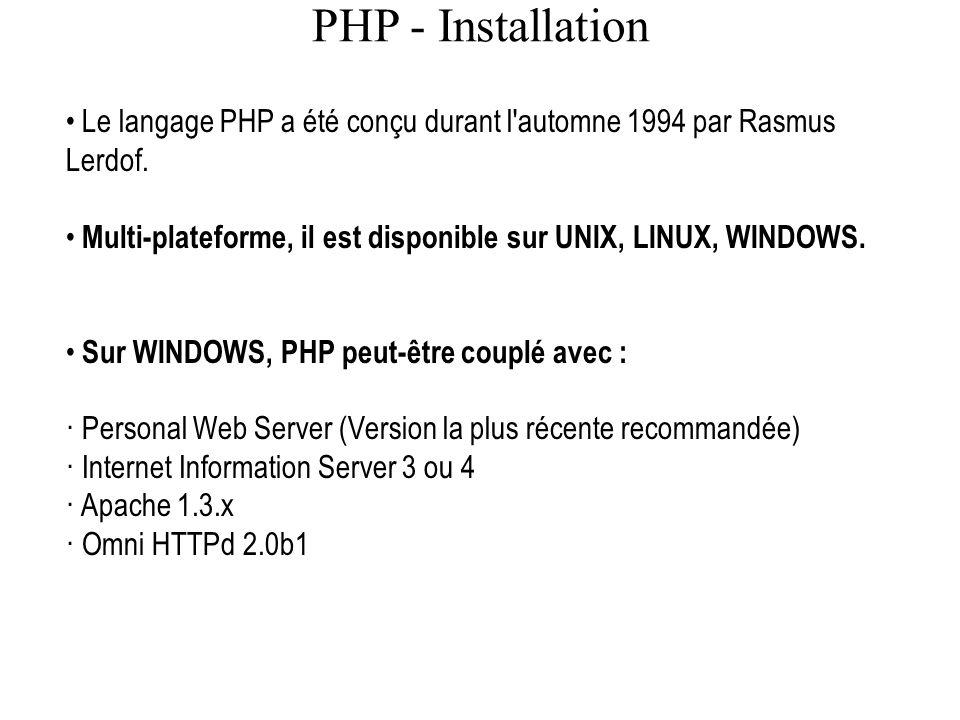 PHP - Installation Le langage PHP a été conçu durant l'automne 1994 par Rasmus Lerdof. Multi-plateforme, il est disponible sur UNIX, LINUX, WINDOWS. S