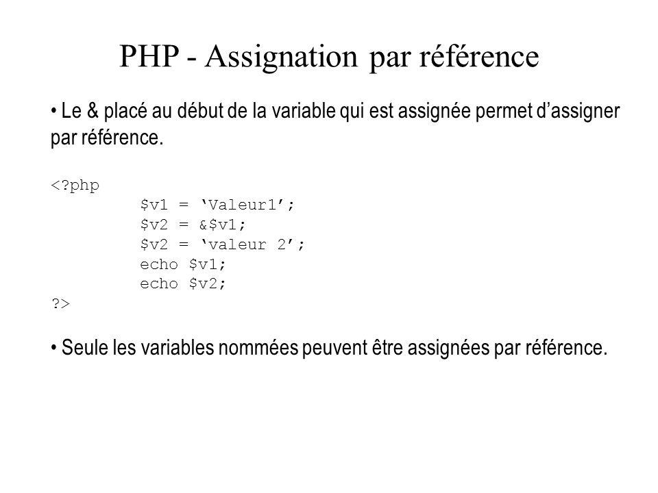 PHP - Assignation par référence Le & placé au début de la variable qui est assignée permet dassigner par référence. <?php $v1 = Valeur1; $v2 = &$v1; $