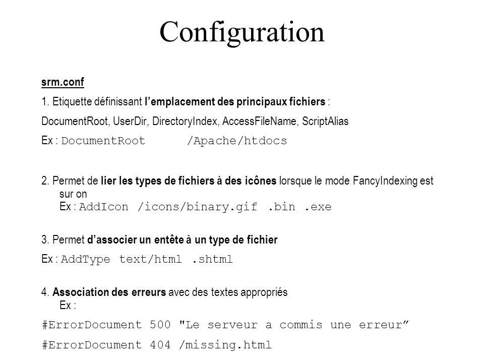 Configuration Httpd.conf port : port TCP/IP par défaut 80 user : utilisateur sous lequel les CGI seront exécutés ServerAdmin : adresse du gestionnaire de site ServerRoot : répertoire de larborescence du serveur ServerName : Nom du server MaxClients : Nombre maximal de clients ErrorLog : Fichier log des erreurs.