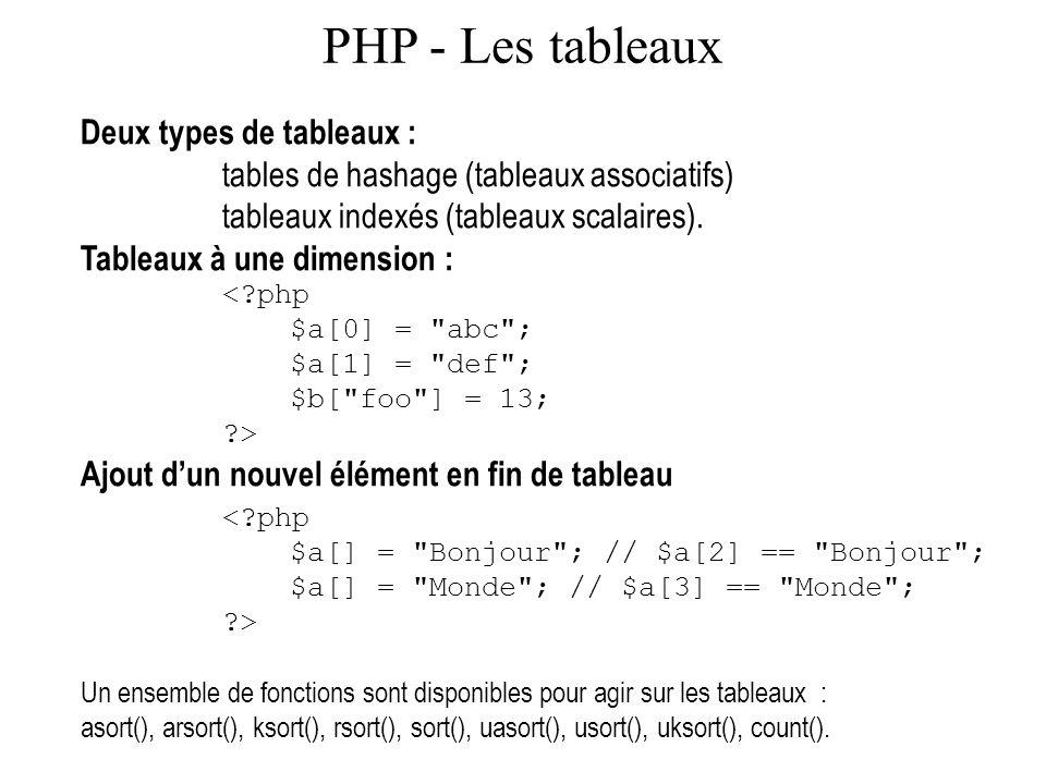 PHP - Les tableaux Deux types de tableaux : tables de hashage (tableaux associatifs) tableaux indexés (tableaux scalaires). Tableaux à une dimension :
