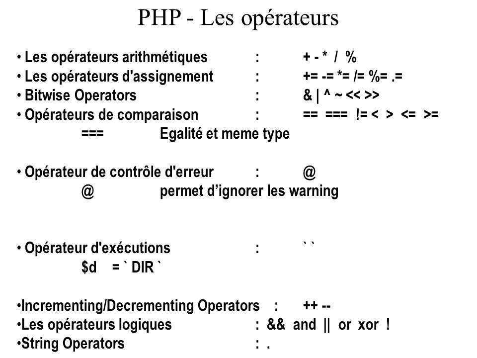 PHP - Les opérateurs Les opérateurs arithmétiques : + - * / % Les opérateurs d'assignement : += -= *= /= %=.= Bitwise Operators :& | ^ ~ > Opérateurs