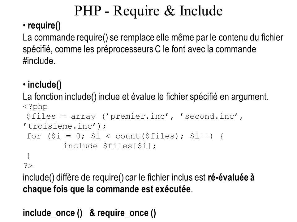 PHP - Require & Include require() La commande require() se remplace elle même par le contenu du fichier spécifié, comme les préprocesseurs C le font a