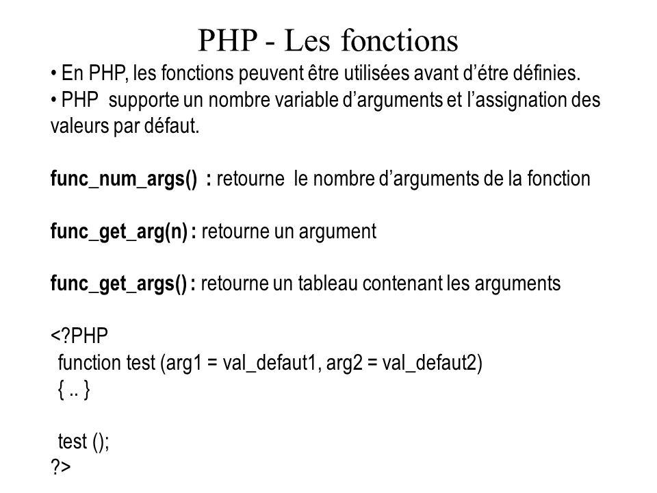 PHP - Les fonctions En PHP, les fonctions peuvent être utilisées avant détre définies. PHP supporte un nombre variable darguments et lassignation des