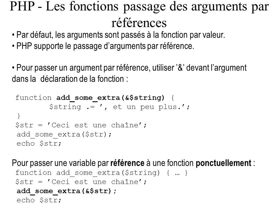 PHP - Les fonctions passage des arguments par références Par défaut, les arguments sont passés à la fonction par valeur. PHP supporte le passage dargu