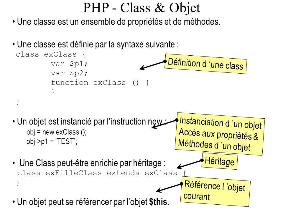 PHP - Class & Objet Une classe est un ensemble de propriétés et de méthodes. Une classe est définie par la syntaxe suivante : class exClass { var $p1;