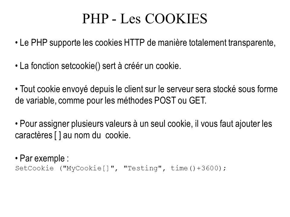 PHP - Les COOKIES Le PHP supporte les cookies HTTP de manière totalement transparente, La fonction setcookie() sert à créér un cookie. Tout cookie env