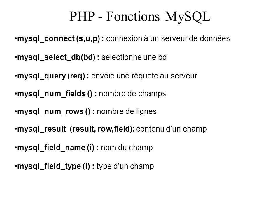 PHP - Fonctions MySQL mysql_connect (s,u,p) : connexion à un serveur de données mysql_select_db(bd) : selectionne une bd mysql_query (req) : envoie un