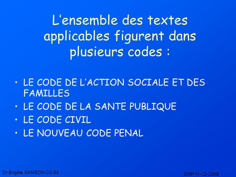 Lensemble des textes applicables figurent dans plusieurs codes : LE CODE DE LACTION SOCIALE ET DES FAMILLES LE CODE DE LA SANTE PUBLIQUE LE CODE CIVIL