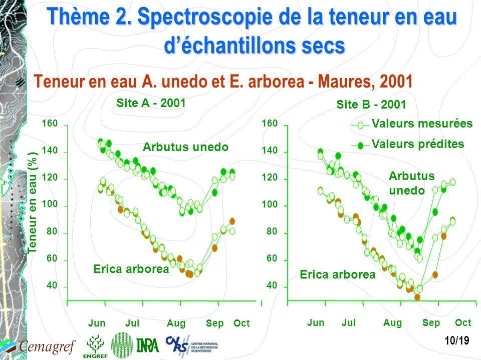 10/19 Thème 2. Spectroscopie de la teneur en eau déchantillons secs Teneur en eau A. unedo et E. arborea - Maures, 2001 Site A - 2001 Teneur en eau (%