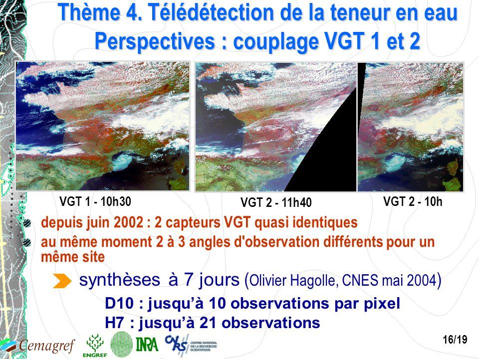 16/19 Thème 4. Télédétection de la teneur en eau Perspectives : couplage VGT 1 et 2 VGT 1 - 10h30 VGT 2 - 11h40 VGT 2 - 10h 21 juillet 2002 depuis jui