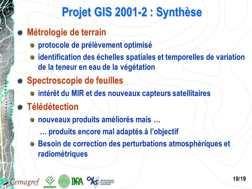 19/19 Projet GIS 2001-2 : Synthèse Métrologie de terrain protocole de prélèvement optimisé identification des échelles spatiales et temporelles de var