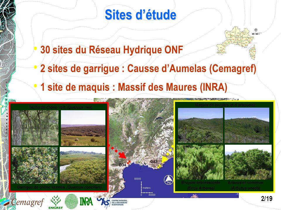2/19 Sites détude 30 sites du Réseau Hydrique ONF 2 sites de garrigue : Causse dAumelas (Cemagref) Garrigue de chêne kermès (Quercus coccifera) Tailli