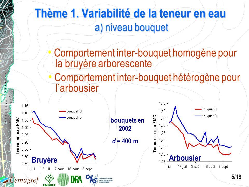 5/19 Bruyère 2 bouquets en 2002 d = 400 m Comportement inter-bouquet homogène pour la bruyère arborescente Arbousier Comportement inter-bouquet hétéro