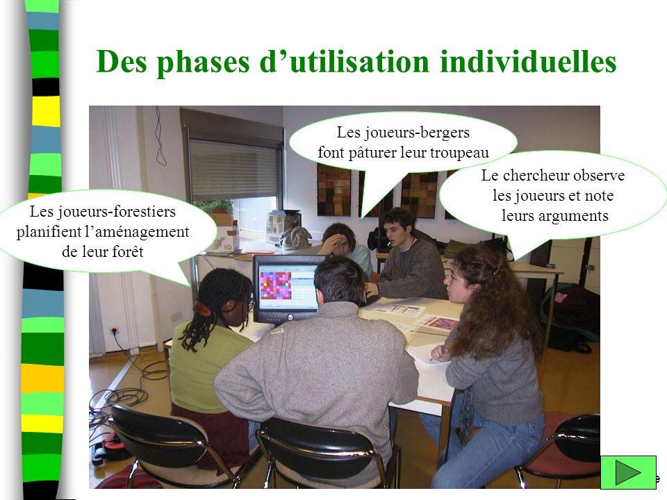 m.etienne Des phases dutilisation individuelles Le chercheur observe les joueurs et note leurs arguments Les joueurs-bergers font pâturer leur troupea