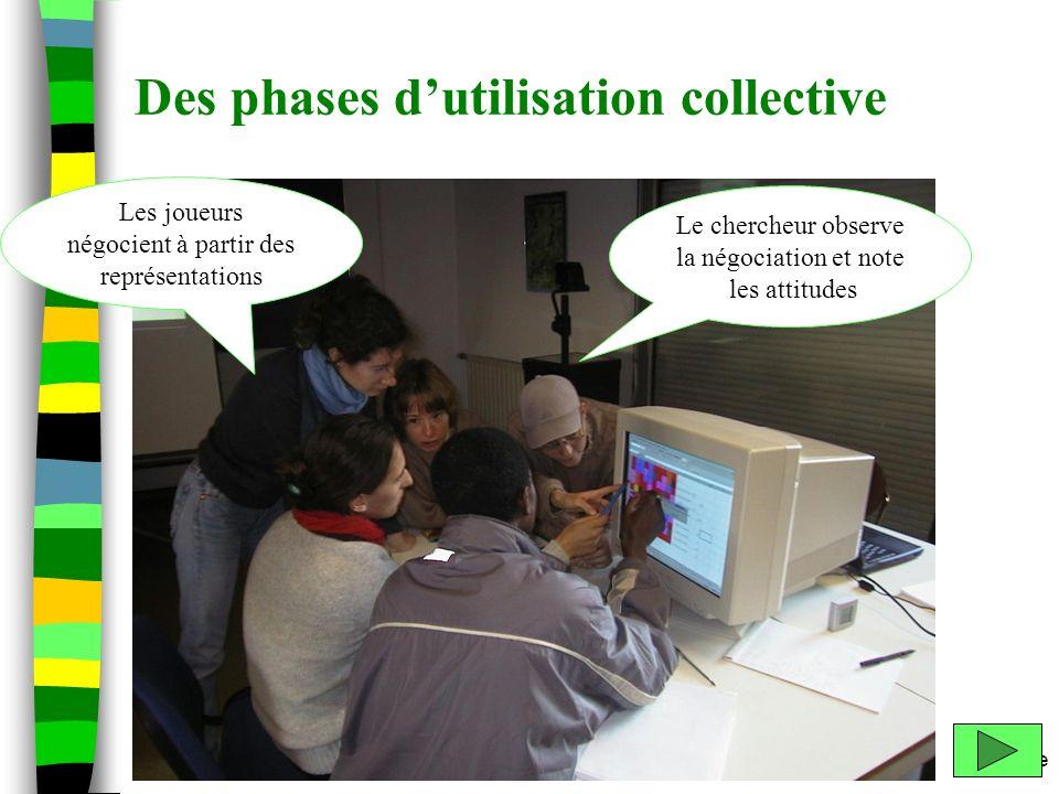 m.etienne Des phases dutilisation collective Le chercheur observe la négociation et note les attitudes Les joueurs négocient à partir des représentati
