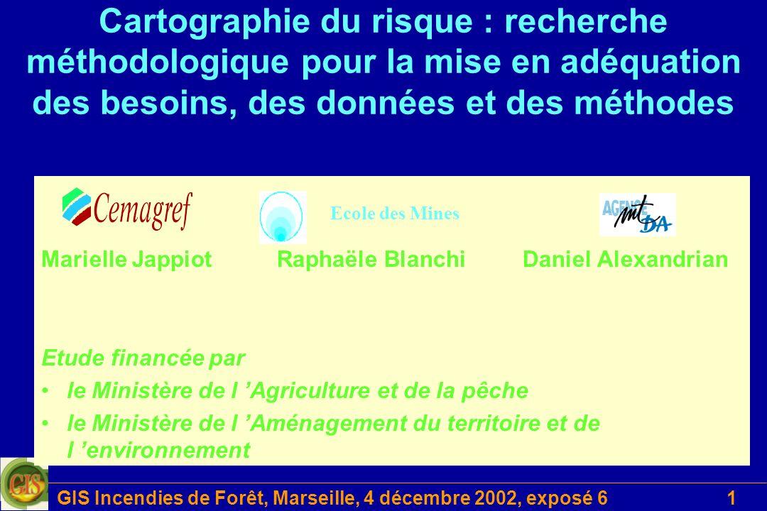 GIS Incendies de Forêt, Marseille, 4 décembre 2002, exposé 62 Danger Risque dincendie Poudrières Combustible Dommages PPR IF DFCI Modèles de propagation Méthode indiciaire